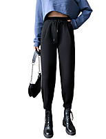 cheap -Women's Basic Streetwear Comfort Daily Going out Jogger Chinos Pants Solid Colored Ankle-Length Pocket Drawstring Black Gray