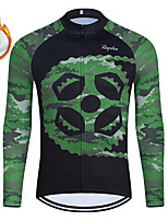 cheap -WECYCLE Men's Women's Long Sleeve Cycling Jersey Winter Fleece Polyester Green Gear Bike Jersey Top Mountain Bike MTB Road Bike Cycling Fleece Lining Breathable Warm Sports Clothing Apparel