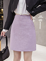 cheap -Women's Causal Daily Active Streetwear Skirts Solid Colored Black Purple