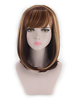 cheap -Wig Female Mixed Color Highlights Brown Bobo Bobo Head Short Straight Hair Inner Buckle Pear Blossom Medium Long Curly Hair Cover 14 Inches