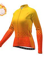 cheap -21Grams Women's Long Sleeve Cycling Jacket Winter Fleece Polyester Yellow Geometic Bike Jacket Top Mountain Bike MTB Road Bike Cycling Thermal Warm Fleece Lining Breathable Sports Clothing Apparel