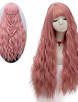 cheap -Women's Pink Wig Long Fluffy Curly Wavy Hair Wigs for Girl Heat Friendly Synthetic Cosplay Party Wigs