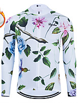 cheap -WECYCLE Men's Women's Long Sleeve Cycling Jersey Winter Fleece Polyester White Floral Botanical Bike Jersey Top Mountain Bike MTB Road Bike Cycling Fleece Lining Breathable Warm Sports Clothing