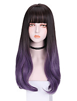 cheap -Synthetic Wig Straight With Bangs Wig Long Purple Synthetic Hair 20 inch Women's Cool Fluffy Purple