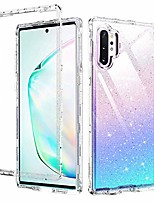 cheap -samsung note 10 plus case, 3 in 1 glitter shockproof heavy duty hybrid hard pc transparent tpu bumper full body protective case for samsung galaxy note 10+ 5g/pro(2019),clear