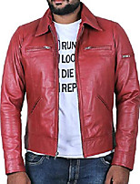 cheap -men's genuine lambskin leather jacket (maroon, extra large, polyester lining) - 1501200
