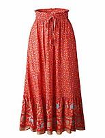 cheap -women floral printed elastic waist tie a line bohemian beach long maxi skirt red