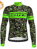 cheap -21Grams Men's Long Sleeve Cycling Jersey Winter Fleece Green Camo / Camouflage Bike Top Mountain Bike MTB Road Bike Cycling Fleece Lining Warm Sports Clothing Apparel / Stretchy / Athleisure
