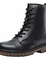 cheap -women fashion leather waterproof ankle bootie casual lace-up short combat boots for girls black us size 6.5