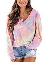 cheap -Women's Blouse Tie Dye Long Sleeve V Neck Tops Basic Top Blushing Pink