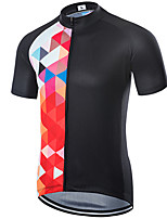 cheap -21Grams Men's Short Sleeve Cycling Jersey Polyester Black / Red Bike Jersey Top Mountain Bike MTB Road Bike Cycling UV Resistant Breathable Quick Dry Sports Clothing Apparel / Stretchy / Race Fit