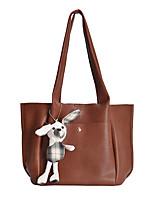 cheap -Women's Bags PU Leather Tote Top Handle Bag Zipper Cartoon 2021 Daily Office & Career White Black Khaki Brown