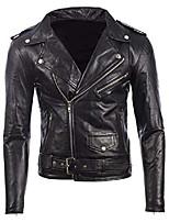cheap -men's black belted biker jacket in real cow hide leather or super-soft sheepskin leather 40c