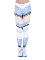 cheap -Women's Sporty Comfort Sports Gym Yoga Leggings Pants Striped Plaid Checkered Full Length Print Blue