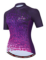 cheap -Women's Short Sleeve Cycling Jersey Violet Bike Top Quick Dry Sports Clothing Apparel / Micro-elastic / Athleisure
