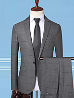 cheap -Tuxedos Standard Fit Notch Single Breasted One-button Polyester Striped / Checkered / Gingham