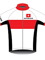 cheap -21Grams Men's Short Sleeve Cycling Jersey Polyester Red / White Bike Jersey Top Mountain Bike MTB Road Bike Cycling UV Resistant Breathable Quick Dry Sports Clothing Apparel / Stretchy / Race Fit