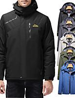 cheap -Men's Hiking Jacket Ski Jacket Hiking Fleece Jacket Winter Outdoor Solid Color Waterproof Windproof Breathable Warm Winter Jacket Top Single Slider Hunting Ski / Snowboard Fishing Cream Black Grey