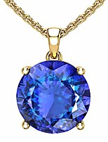 cheap -14k yellow gold round gemstone sparkling rope chain sterling silver birthstone fine jewelry classic womens hang pendant necklace, 4.2 carat created blue sapphire, 18 inch