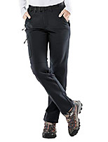 cheap -women's fleece lined cargo pants insulated softshell hiking pants with 3 zipper pockets, stretchy, black, xs