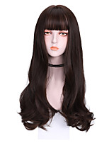 cheap -Synthetic Wig Curly With Bangs Wig Long Dark Brown Brown Grey Black Synthetic Hair 26 inch Women's Cool Color Gradient Comfy Brown Gray