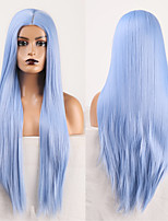 cheap -Cosplay Costume Wig Synthetic Wig Straight Natural Straight Middle Part Wig Long Sky Blue Synthetic Hair Women's Odor Free Fashionable Design Soft Blue / Heat Resistant