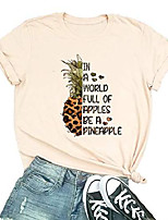cheap -full of apples be a pineapple t-shirt women fruit graphic funny short sleeve tee tops m beige