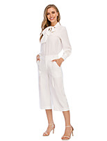 cheap -Women's Casual Breathable Daily Wide Leg Pants Solid Colored Calf-Length White