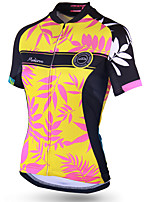 cheap -21Grams Women's Short Sleeve Cycling Jersey Polyester Yellow Floral Botanical Bike Jersey Top Mountain Bike MTB Road Bike Cycling Breathable Quick Dry Reflective Strips Sports Clothing Apparel