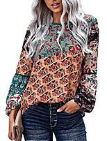 cheap -Women's Autumn Boho Floral Print Round Neck Long Sleeve Tops Casual Soft Flowy Shirts Blouses,Green,XXL