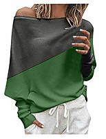 cheap -misaky women's off the shoulder sweater autumn winter leisure loose colorblock long sleeve pullover tops(green, s)