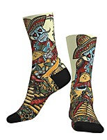 cheap -Crew Socks Compression Socks Calf Socks Athletic Sports Socks Cycling Socks Men's Women's Bike / Cycling Lightweight Breathable Anatomic Design 1 Pair Graphic Skull Cotton Black / Yellow S M L