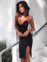 cheap -Sheath / Column Little Black Dress Sexy Party Wear Cocktail Party Dress Spaghetti Strap Sleeveless Short / Mini Spandex with Lace Insert 2020
