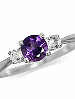 cheap -petite natural african amethyst and white topaz 925 sterling silver ring size 6
