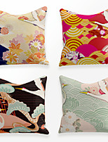 cheap -Cushion Cover 4PCS Linen Soft Decorative Square Throw Pillow Cover Cushion Case Pillowcase for Sofa Bedroom 45 x 45 cm (18 x 18 Inch) Superior Quality Mashine Washable Chinese Style Waves Colorful
