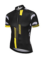 cheap -21Grams Men's Short Sleeve Cycling Jersey Polyester Black / Yellow Bike Jersey Top Mountain Bike MTB Road Bike Cycling UV Resistant Breathable Quick Dry Sports Clothing Apparel / Stretchy / Race Fit