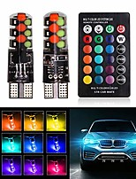 cheap -t10 w5w led bulb rgb clearance light universal rgb cob 12smd colorful multi mode led bulbs with remote controller,for car interior light roof light trunk light interior reading light (pack of 2)