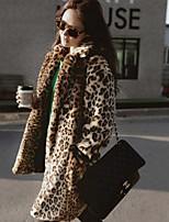 cheap -Long Sleeve Coats / Jackets Faux Fur Office / Career Women's Wrap With Leopard Print