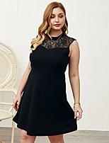 cheap -Women's A-Line Dress Knee Length Dress - Sleeveless Solid Color Zipper Lace Patchwork Summer Plus Size Elegant Sexy Holiday Loose 2020 Black Blue Blushing Pink XL XXL 3XL 4XL / Print