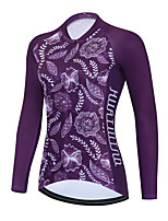 cheap -Women's Long Sleeve Cycling Jersey Winter Purple Floral Botanical Bike Top Mountain Bike MTB Road Bike Cycling Breathable Quick Dry Sports Clothing Apparel / Stretchy / Athletic