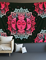 cheap -sun and moon tapestry burning sun with stars tapestry black and white tapestry mystic fractal faces tapestry psychedelic hippy tapestry wall hanging for room (51.2 x 59.1 inches)
