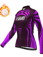 cheap -21Grams Women's Long Sleeve Cycling Jacket Winter Fleece Polyester Purple Bike Jacket Top Mountain Bike MTB Road Bike Cycling Thermal Warm Fleece Lining Breathable Sports Clothing Apparel / Stretchy