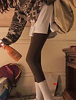 cheap -Women's Comfort Daily Leggings Pants Solid Colored Full Length Black Brown