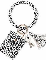 cheap -nicav keychain bracelet, upgraded tassel key ring bracelet with wallet card holder premium leather bangle key ring for women grils (leopard print white)