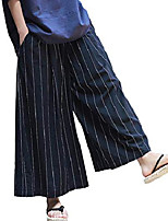 cheap -women's casual elastic waist striped linen cotton wide leg palazzo lounge pants comfy culottes with pockets size xl black