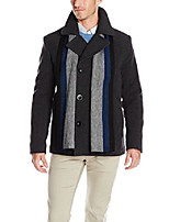 cheap -men's pea coat with scarf, charcoal, xx-large