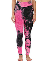 cheap -womens tie dye high waist textured leggings tummy control yoga pants, black pink, small