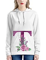 cheap -Women's Pullover Hoodie Sweatshirt Graphic Floral 3D Monograms Front Pocket Daily Going out 3D Print Casual Cute Hoodies Sweatshirts  White / Letter
