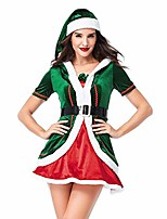cheap -women's santa helper costume adult christmas honey elf halloween outfits, green1, tag size xl=us size large