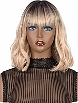 cheap -qvr short natrual wave bob wigs with air bangs for women blunt cut lace crown wigs like human hair wig synthetic heat resistant fiber for party cosplay wigs ombre pink gold